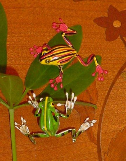 Handpainted tree frogs