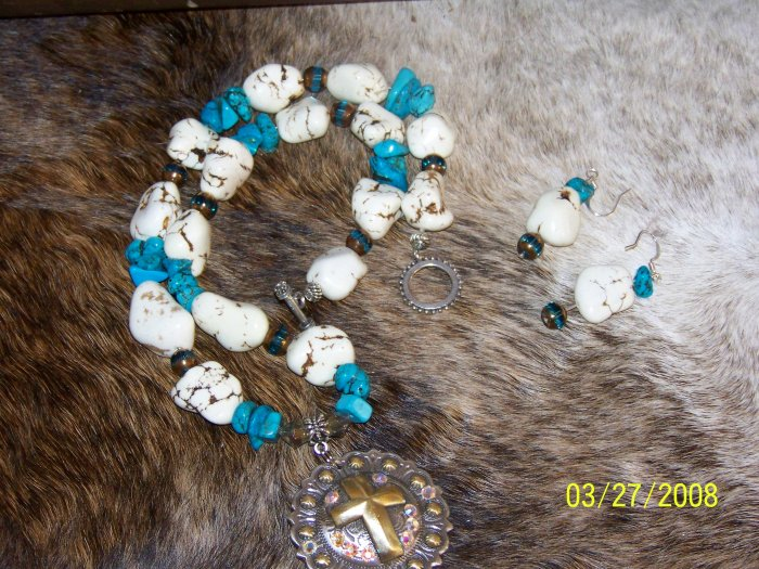 cross concho turquoise  necklace