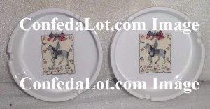 Confederate Ashtray Set Robert E Lee Fine Porcelain Gold Trim Ashtray Set