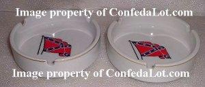 Confederate Ashtray Set Waving Flag Fine Porcelain Gold Trim Ashtray Set NEW