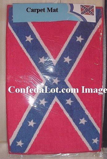 Confederate Flag Carpet Car Door Floor Mat 18in x 28in NEW