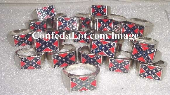 Wholesale 2 Dozen Battle Flag Rings in Assorted Sizes Heavy Gauge