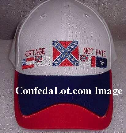 60 White Confederate Flag Caps NEW  - Heritage Not Hate Below WHOLESALE Priced NEW