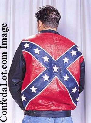 WHOLESALE Confederate Flag Leather Bomber Style Jacket SIZE MEDIUM