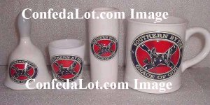 4 pc Embossed Confederate Fine Porcelain Southern By The Grace of God Mug,Shooter,Shot Glass,Bell