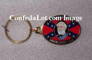 Robert E Lee Solid Brass n Enamel Engraved Keychain NEW