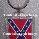 Confederate Flag Fine Lucite Keychain Rectangular style NEW