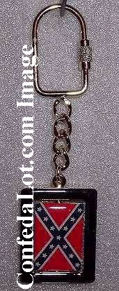 Fine Confederate Rotating Flag Gold Trim Key Chain NEW