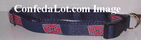 Confederate Dog Collar strong non pop Nylon Webbing NEW