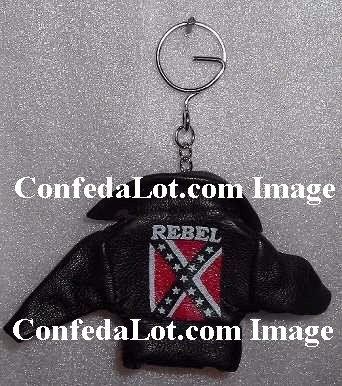 12 Confederate Rebel Leather Biker Jacket Keychains NEW
