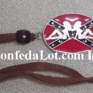 Sexy Girls Pewter Oval Confederate Flag Adjustable Necklace NEW