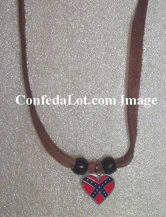 Sexy Dangling Leather Confederate Flag Heart Anklet NEW