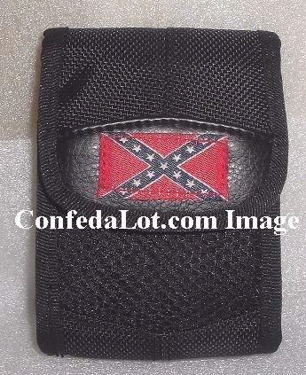 Confederate Flag Zippered Multi-Purpose Pouch  w/ Velcro Flap Zipper Rear strap Neck chain NEW