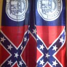 Confederate  Window Curtains Set 2 Panel Georgia Full Battle Flag Curtain set NEW