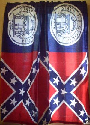Confederate  Window Curtains Set 2 Panel Georgia Full Battle Flag Curtain set NEW