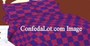 Confederate Sheet Set KING Size BLUE/RED NEW
