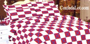 Confederate Sheet Set  KING Size WHITE/RED NEW