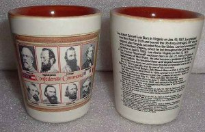 2 Civil War Confederate Commanders Shot Glasses High End Quality  Porcelain NEW