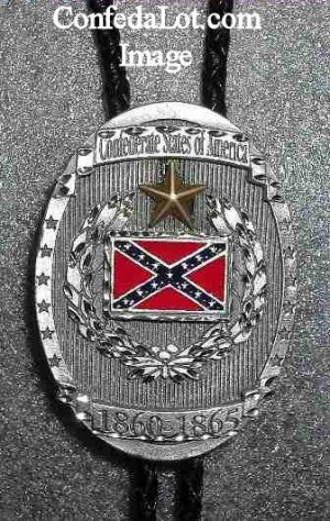 Confederate Bolo Tie made of Solid  Pewter with  Pewter Tassled Tips NEW