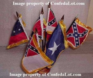 6 Flags of Confederacy Desk set with Wood Base NEW Confederate