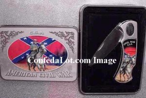C S A  Civil War Knife Set with Decorative Tin Collectors Case NEW Flag and Horse Scene