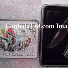C S A  Civil War Blade Set with Decorative Tin Collectors Case NEW War Scene