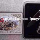 C S A  Civil War Blade Set with Decorative Tin Collectors Case NEW Revolution Scene