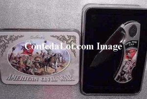 C S A  Civil War Blade Set with Decorative Tin Collectors Case NEW Revolution Scene