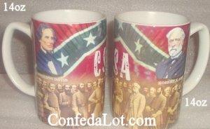 Confederate Robert E Lee Jefferson Davis Big 14oz Mug NEW Heavy duty fine Quality Porcelain