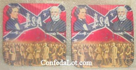 Confederate Robert E Lee Jefferson Davis Coaster Set NEW