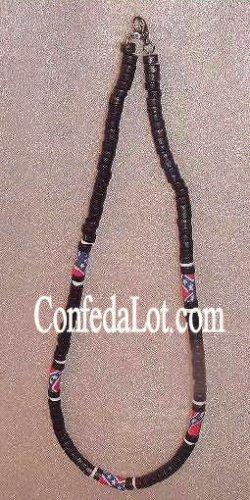 Confederate Black PuKa Wood Beaded Necklace NEW