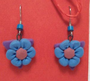 Lavender traingle blue flower earrings