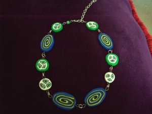 Blue swirly necklace