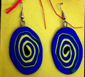 Blue swirly disk earrings