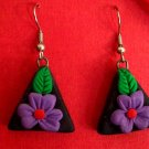 Purple flower triangle earrings