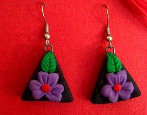 Purple flower triangle earrings