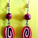 Red and black swirl earrings