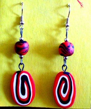 Red and black swirl earrings