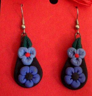 Purple flower teardrop earrings
