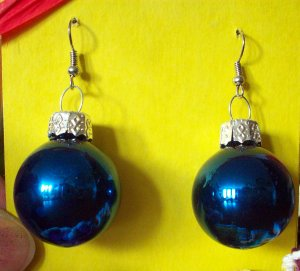 Blue glass Christmas ball ornament earrings