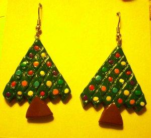 Christmas tree earrings, large