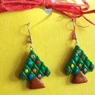 Christmas tree earrings, small green