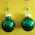 Green Christmas ball  glass earrings