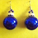 Cobalt Christmas ball glass earrings