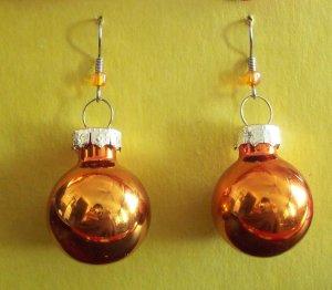 Orange Christmas ball glass earrings