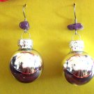 Silver Christmas ball glass earrings with Amethyst
