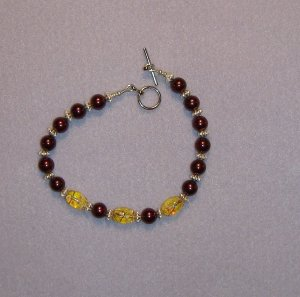 Cranberry and Yellow Speckle Bracelet