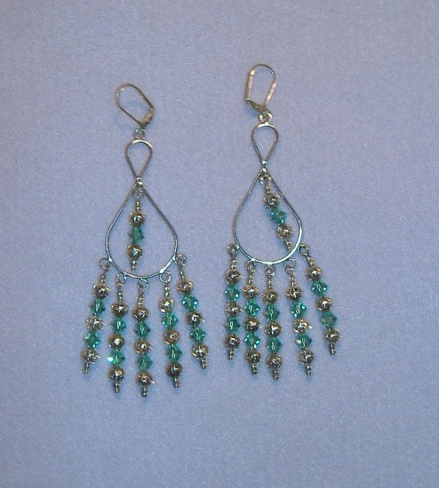 Large Emerald Swarovski Crystal Chandelier Earrings