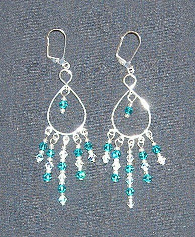 Small Turquoise Swarovski Crystal Chandelier Earrings