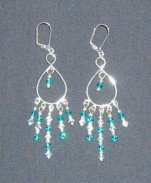 Small Turquoise Swarovski Crystal Chandelier Earrings